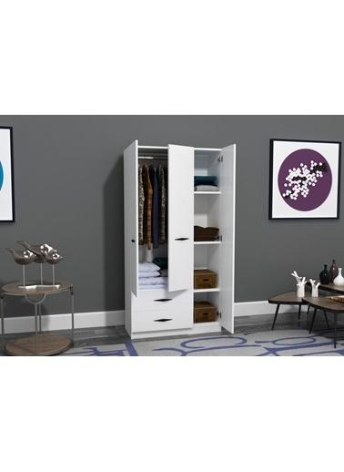 Sanal Mobilya House 3 Kapaklı 2 Çekmeceli Aynasız Dolap Beyaz